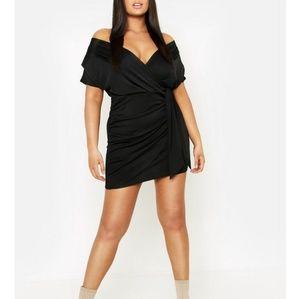 *ORDER SOON!* Faux Wrap Mini Evening Dress (Black)